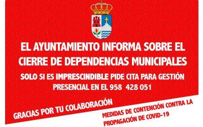 INFORMACIÓN SOBRE CIERRE DE DEPENDENCIAS MUNICIPALES